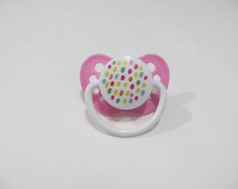 Baby Alive Magnetic Pacifier - Custom Made for MY Baby ALIVE 2010 Interactive Doll - Colorful Dots   - Please read description