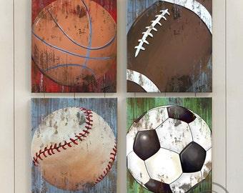 Sports Canvas Wall Art , Set Of 4 Canvas Art   Sports Room Decor   All Star  Boy Room Decor, 4 Piece Canvas Art
