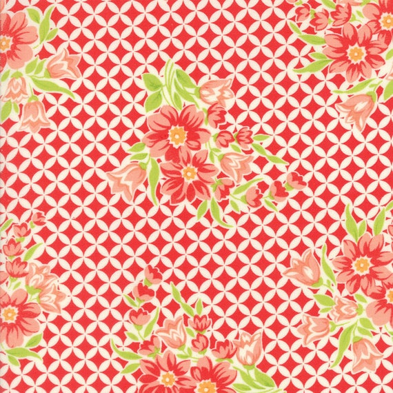 Cross Hatch Flower Designs On White, Handmade by Bonnie and Camille For Moda Quilt Fabric by The Yard 55146 11