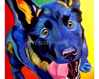 German Shepherd, Pet Portrait, DawgArt, Dog Art, Pet Portrait Artist, Colorful Pet Portrait, German Shepherd Art, Art Prints