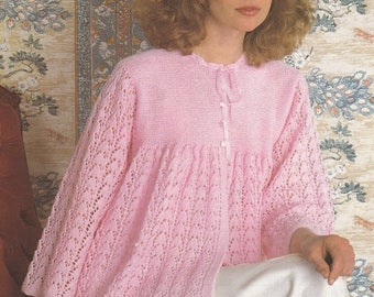 PDF womens bedjacket vintage knitting pattern bed jacket 30 - 38 inch dressing jacket pdf INSTANT download