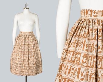 Vintage 50s Egyptian Novelty Print Skirt with Pockets   1950s Brown Cream Striped Linen Full Skirt (small)