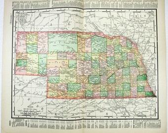 Nebraska: Original 1895 Map by Rand McNally.. Antique