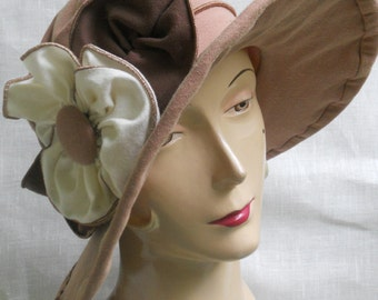 Organic Sun Hat - Ladies Edwardian Travel Hat - Sepia Toned - Organic Cotton and Hemp Jersey - Traveling Mabel