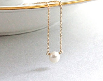 Single Freshwater Pearl Necklace, Gold Necklace, Yellow Gold Rose Gold Layering Necklace, Bridal Necklace, Modern Minimal Jewelry