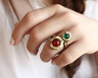 Multistone doble aro dos anillo piedra cornalina anillo verde ágata anillo boho anillo bruja anillo anillo anillo bronce étnicos regalo cristalino para ella