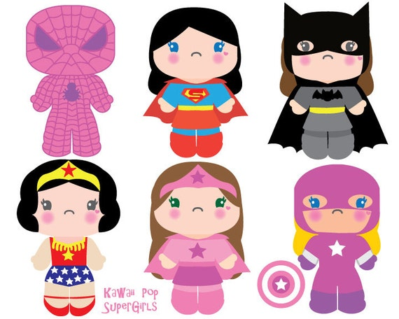 Superhero Girls Clipart Kawaii Clip Art Kawaii Pop Culture