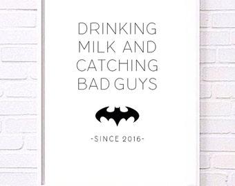 Personalised 'Drinking milk and catching bad guys' Superhero Nursery prints