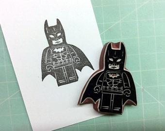 Batman LEGO figure. Batman LEGO stamp. Rubber stamp. Hand carved stamp. Mounted