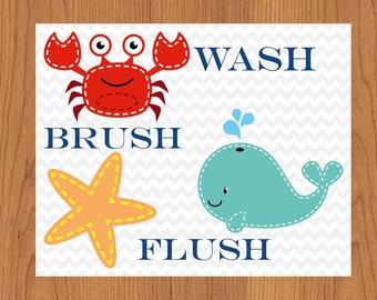 Kids Bathroom Ocean Wall Art Decor Theme Wash Brush Flush Children's Decor Crab Whale Star Fish 8x10 Matte Finish Print (81)