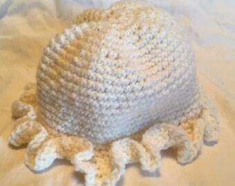Handmade Crochet White Sparkly Toddler Hat