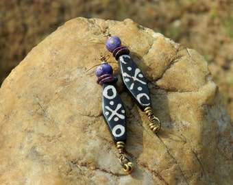 Primitive Batik Bone Boho Earrings