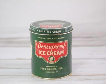 Vintage Pensupreme Metal and Cardboard Ice Cream Bucket Container Half Gallon