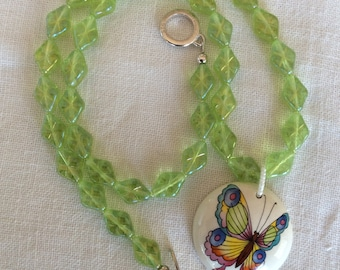 Ceramic butterfly beaded necklace
