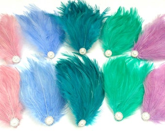 Pastels Bridal Party Burlesque Feather Pad Fascinator Pearl Gatsby Flapper Hair Accessories Choose Your Colour