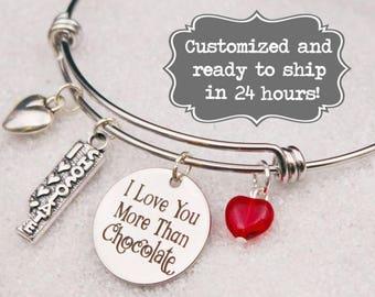 I Love You More Than Chocolate Bangle Bracelet, Custom Name Charm Bracelet, Adjustable Bangle, Engraved. Valentine's Day Gift, Foodie Gift