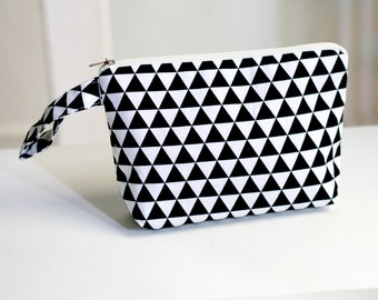 Black and White Triangle Pouch, make up pouch, multipurpose pouch
