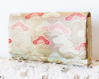 Glitter Clutch, Gold Clutch Bag, Evening Clutch, Wedding Clutch, Bridesmaid Clutch, Gift For Her, Vintage Japanese Kimono Silk Womens Wallet
