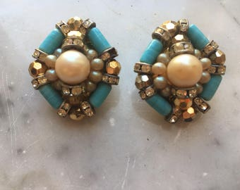 Elegant 80 clip earrings with imitation pearls and turquoise diamonds