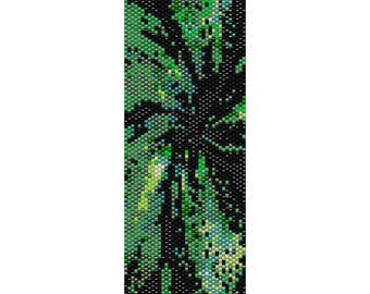 BPFR0008 Fractal 8  Even Count Single Drop Peyote Cuff/Bracelet Pattern Green