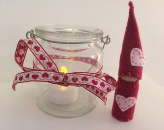 Love Heart Peg Doll Gnome