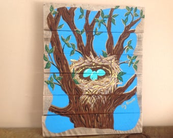 """Original,handpainted,12""""x15.5""""eggs,nest,robins eggs,nest in tree,painting of nest,reclaimed wood,cottage decor,acrylic painting,wood pallet."""