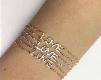 14 Karat Gold Diamond LOVE Bracelet 170-227