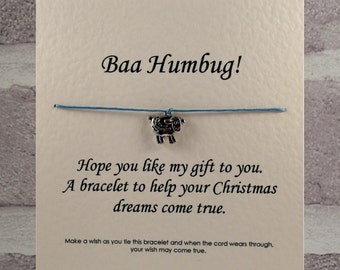 Handmade Baa humbug Tibetan Silver Charm Wish Bracelet