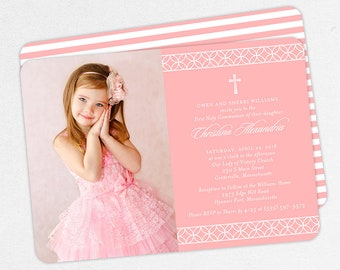 Photo First Communion Invitations, Pink First Communion Invitations, Modern Communion invitations, Girl First Communion Invitations, PDF