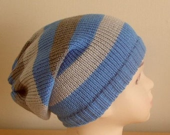 toddler boys hat, striped slouch hat, toddler boy's beanies, knit boy slouch beanie, knitted infant boy hat, CHOOSE COLOURS and SIZE