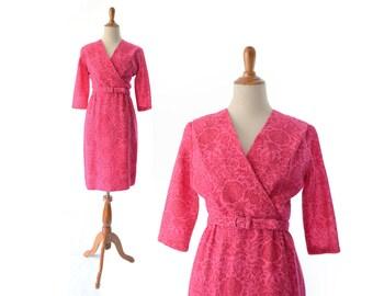 1950s Dress Pink 50s Dress Wool Dress Pink Vintage Dress Small Dress Hot Pink Dress Fuchsia Dress Fuschia Dress Vintage Clothing 1960s 60s