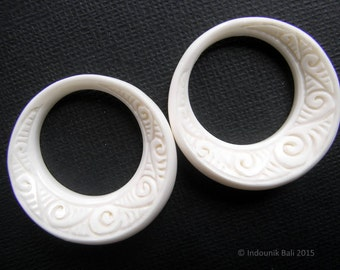 Ni Luh Balinese Hoop Beads in Carved Bone Earring Pair 30mm Jewelry Supplies