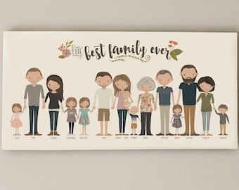 Extended Family Portrait • Grandparent Gift Custom Family Illustration • Grandma Grandpa Present • Canvas Family Portrait Personalized Gift