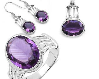 17.40 Carats Genuine Natural AAA Amethyst 925 Sterling Silver Ring, Pendant, Chain and Earrings Set Super Fine Quality & Design!