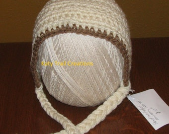 Hand Crocheted Baby Bonnet in Antique White with Brown Trim