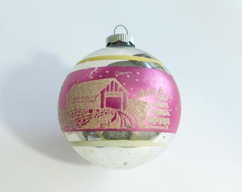 Shiny Brite Vintage Christmas Tree Ball Ornament, Jumbo Size, Silver with Pink Band & Stenciled Mica Snowy Landscape with Covered Bridge C3