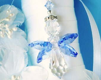 Something Blue Bouquet Charm Swarovski Crystal Angel Wedding Bouquet Charm