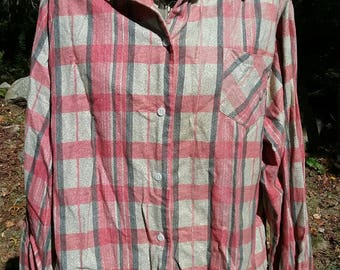 1950s 50s Sears Roebuck and Co. Red & Gray Flannel Dress Shirt Plus Size