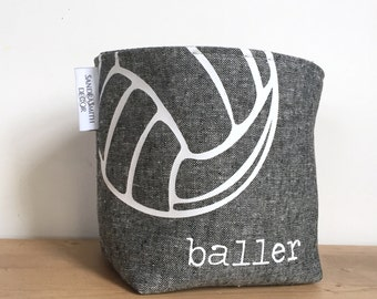 Personalized Linen Basket Catchall. Volleyball. Gift for Athlete.