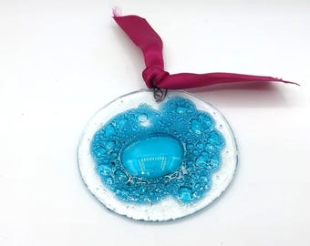 Christmas ornaments - water - aqua - marine - fusing - bubbles - turquoise - fused glass