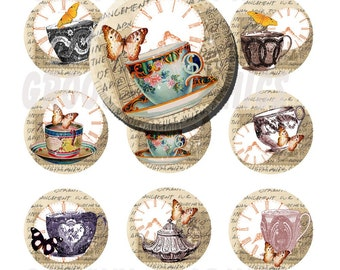 Vintage teacups 1 inch circles bottle cap images - Pendant making - Key chains - Magnets - Digital collage sheet - Instant download