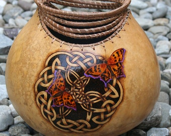 Anglewing Butterflies pyrography wood burned Gourd Vase