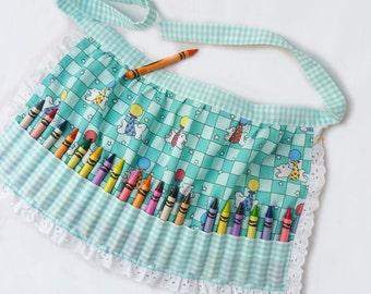 Girls Crayon Apron, Crayon Apron, crayon storage, Girls Birthday Gift, unique gift idea, crayon holder, lamb print, craft apron
