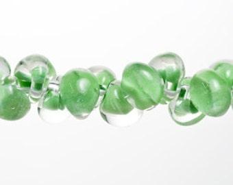 10 Pastel Green Teardrop Handmade Lampwork Beads - 13mm (21268)