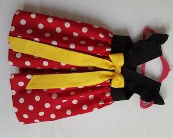 Minnie Mouse Dress, Minnie Dress, Baby Girls Dress, Little Girls Dress, Minnie Mouse Party Dress, Flutter Sleeve Dress