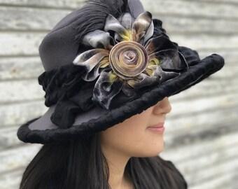 Ladies Polar Fleece Hat- Edwardian Style- Grey with hand dyed silk trim- Millie