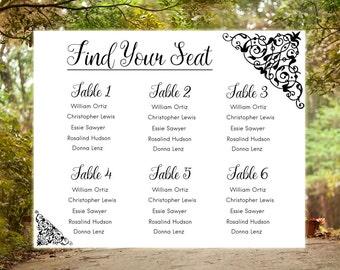 Wedding seating chart poster Large wedding sign Wedding reception seating sign Wedding seating plan Seating chart Wedding chart printable