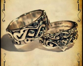 Medieval Wedding ring trio - Sterling silver 925