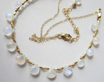 Flashy Rainbow Moonstone Gold Collar Necklace