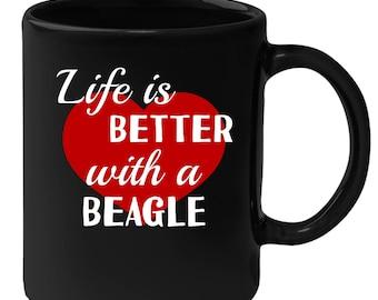 Beagle - Life Is Better With A Beagle 11 oz Black Coffee Mug